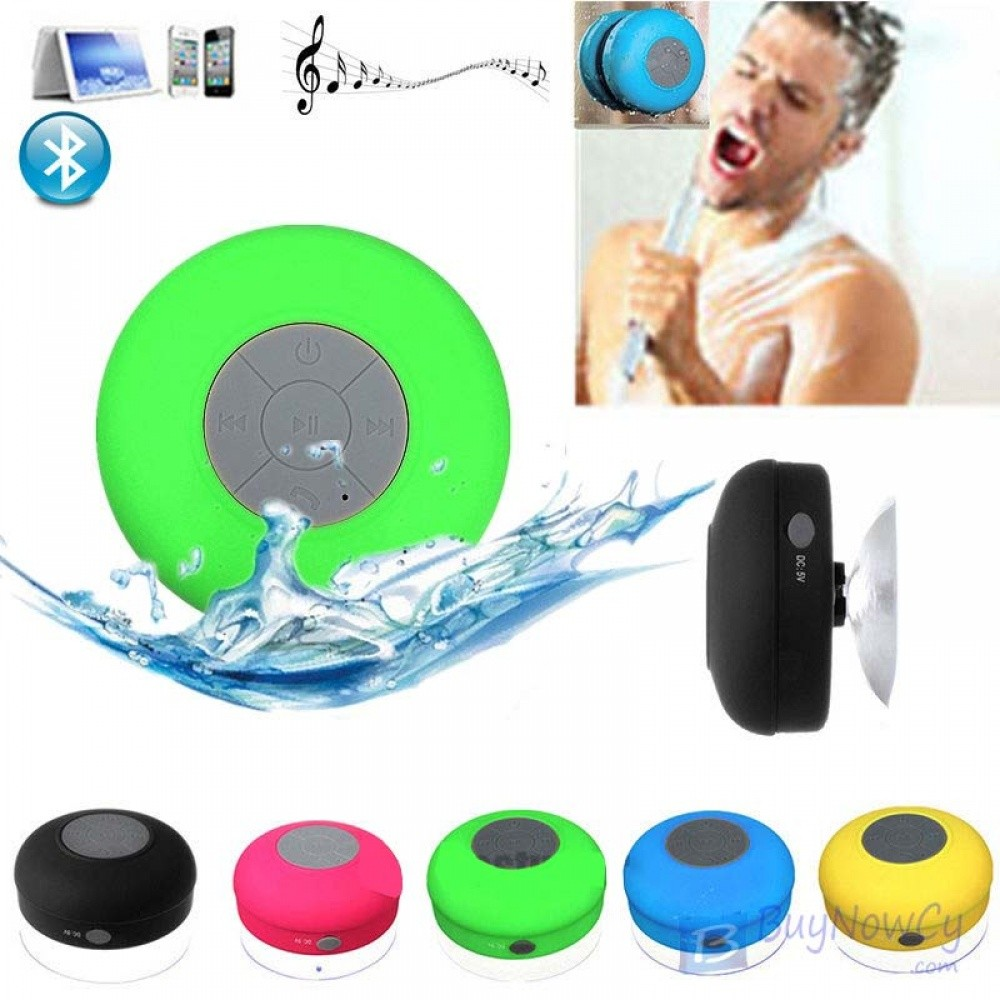 Waterproof Mini Bluetooth Speaker Mic Shower Car Suction Handsfree Green