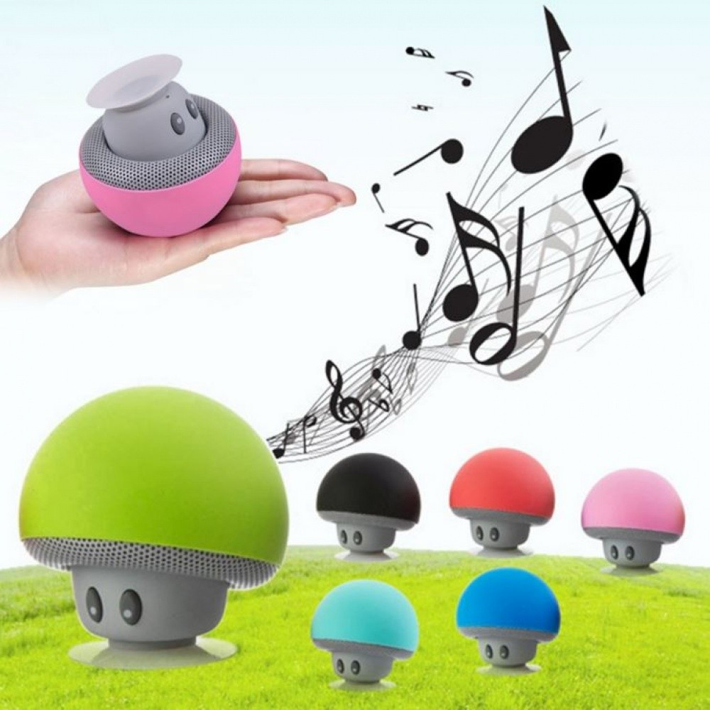 Wireless Bluetooth Mini Speaker Mushroom Waterproof silicon Suction Green