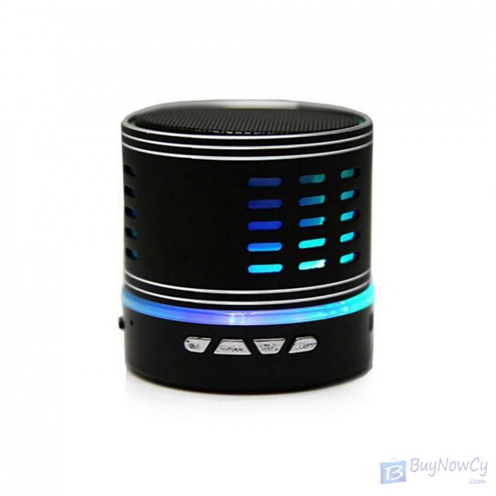 Wireless Metal Mini Bluetooth Speaker with LED Light Black