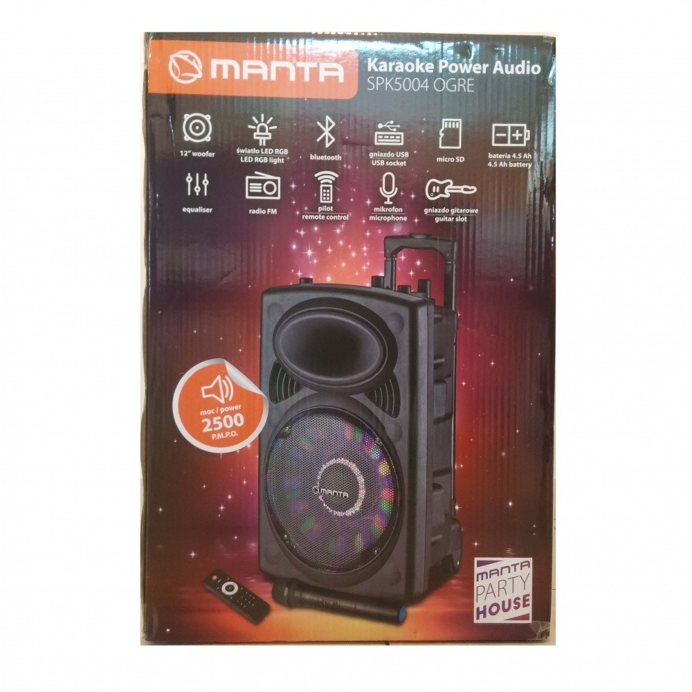 Manta Party Karaoke Speaker Box Multimedia Power Audio 40W