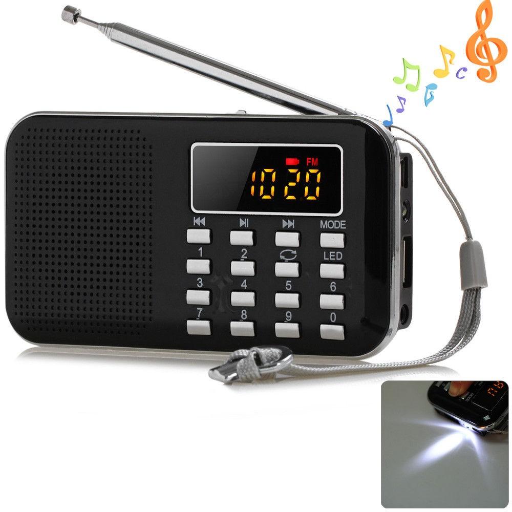 Mini Portable LCD Digital FM Radio Speaker USB TF Card Mp3 Music Player +LED
